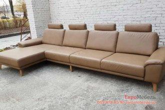 Кожаный мягкий угловой диван