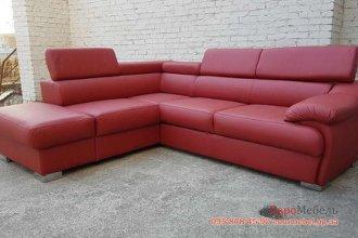 Раскладной угловой кожаный диван