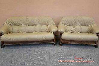 Комплект кожаной мягкой мебели 3+2