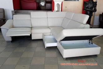 Кожаный угловой диван электрореклайнер
