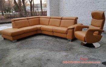 Кожаный угловой диван с креслом