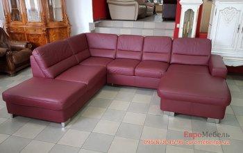 Кожаный угловой п-образный диван
